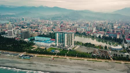 hilton : Cloudy Batumi aerial view, Batumi black sea drone footage Stock Footage