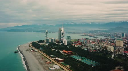 Batumi, Georgia, drone over city, Aerial view of Batumi, Sheraton