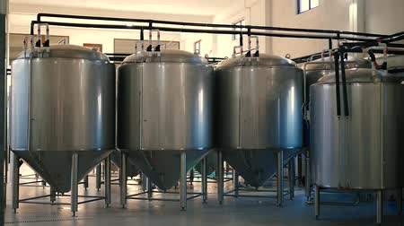 Stainless tanks for alcohol at the factory