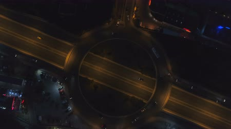 hurry up : Roundabout road with night traffic in city at night. Night, Top view of Sofia, Bulgaria