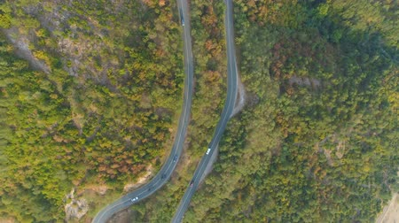pista de corrida : Top view of curvi mountain road with many cars driving. People on road trip traveling in sunny summer Vídeos