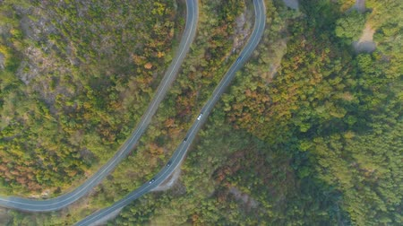 pista de corrida : Aerial View Of Mountain Pass And Cars Driving Along Road. Drone following cars, top view Vídeos