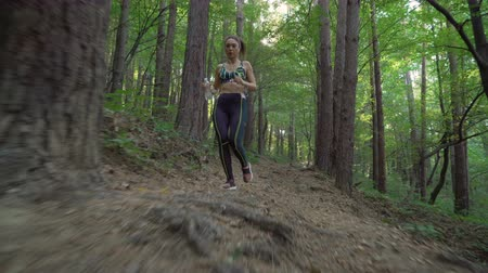 apertado : Athletic brunette with trail running shoes working out in the forest, jogging on forest path