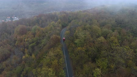 koşullar : Red bus driving on misty road in the forest. Drone following truck at forest road