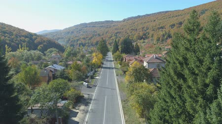 bułgaria : Aerial view of peaceful road in the small mountain village in Bulgaria Wideo