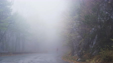 direkt : Lonely man walking into the fog. Rainy and foggy day in the mountains