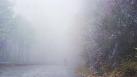 direkt : Lonely man is walking in mysterious fog. Man in red jacket searching for signal on his mobile lost in the mountain