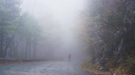 direkt : Lost tourist searching for the right way in deep fog in a rainy autumn day Stok Video