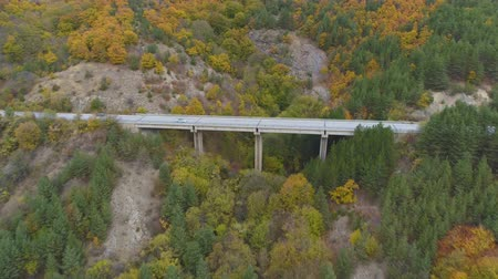 accident route : Side view of beautiful highway bridge in the mountains. Cars driving on asphalt road Vidéos Libres De Droits