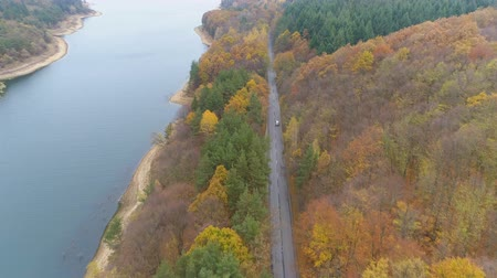 обмотка : Drone follows speeding car on asphalt road near lake shore Стоковые видеозаписи
