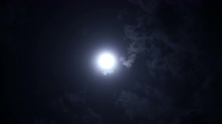 celestial : Dramatic full moon night sky with beautiful clouds Stock Footage