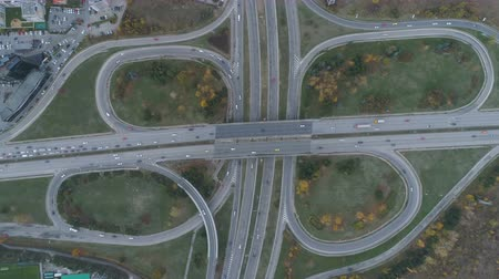 visão global : Aerial view interchange ring road and motorway freeway highways and moving cars transportation in Sofia, Bulgaria Stock Footage