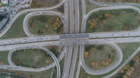 bułgaria : Top view of busy traffic at bypass road in Dragalevtsi Boyana, Sofia Wideo