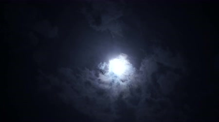 celestial : Unidentified objects flying trough full moon with grey clouds