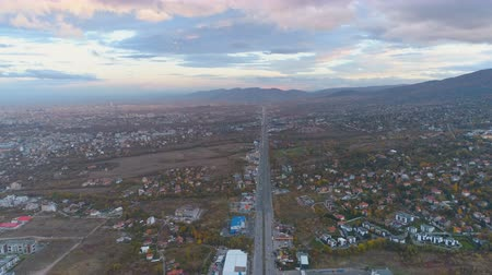 visão global : Top view of scenic, beautiful clouds above city entrance road in Sofia, Bulgaria