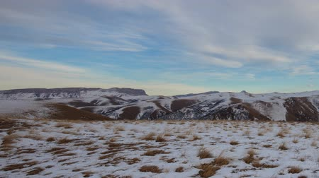 great video : Russia, time lapse. Winter views of the snowy mountains of the Caucasus. Formation and movement of clouds over mountains peaks. Stock Footage