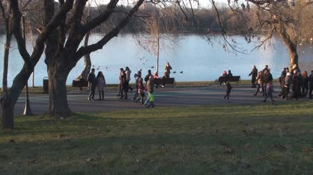 pan : Crowds Of People In The Park On A Nice Spring Day Side-Shot Stock Footage