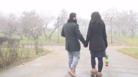öneri : Couple Holding Hands And Walking In The Parc Back-Shot