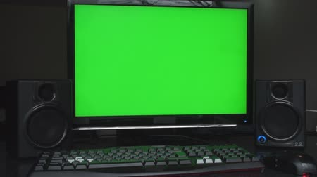 montaj : Studio Workstation With Green Screen Studio Speakers Mouse And Keyboard