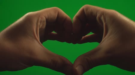 жест : Hands Making A Heart On A Green Screen, Chroma, Key, Signs, Gestures