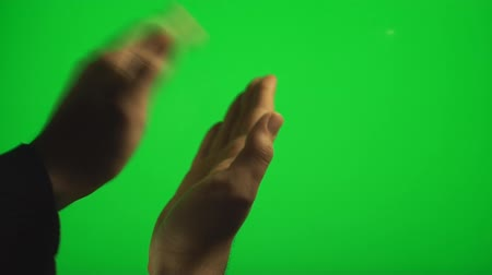 kézi : Hands Clapping On The Side On A Green Screen, Chroma, Key, Gesture Stock mozgókép