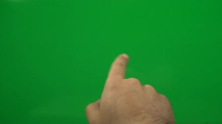 érintés : Hand Making Touch Screen Gestures On A Green Screen, Futuristic, Chroma, Key