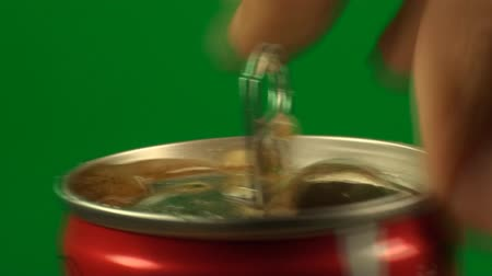 green soda can : Hand Opening A Can Of Soda On A Green Screen, Chroma, Key, Close Up Shot