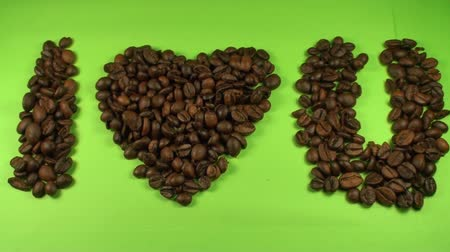 vagens : I Love You Made Out Of Coffee Beans On A Green Screen, Chroma, Key, Still Shot