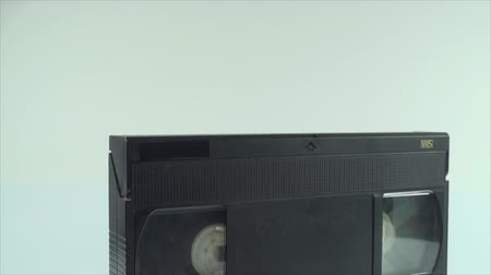 videocassette : Video Tape Isolated On White, Vintage, Media, Retro, Old, Tilt Shot