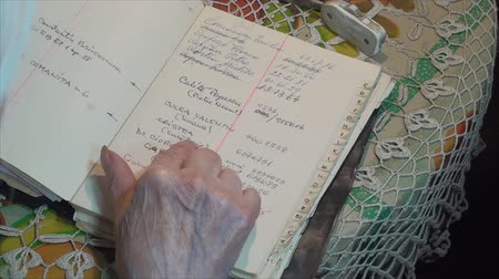 adresář : 98 Years Old Woman Searching For Phone Numbers, In Address Book, Hand Detail