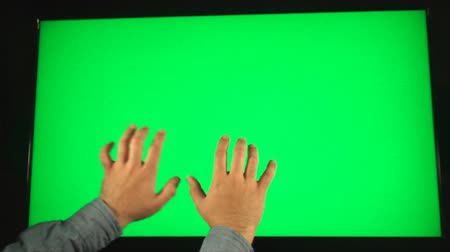 polegar : Hand Typing On A Big Green Screen, Technology, Future, Communication