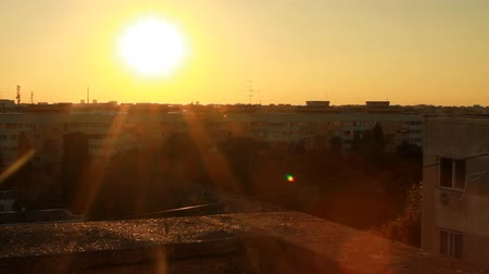 sociedade : Beautiful Sunset Flare From A Top Of A Building, Aerial, Sky, Sun, Apartment