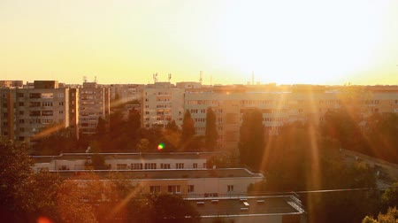 daireler : Beautiful Sunset Flare From A Top Of A Building, Aerial, Sky, Sun, Apartment Pan