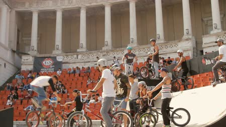 bmx : BMX Bikers Warming Up For Extreme Sports Contest, Ramp, Speed, Low Angle