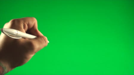 írás : Hand Writing With A Pen On A Green Screen, Chroma, Key, Gesture, Detail Stock mozgókép