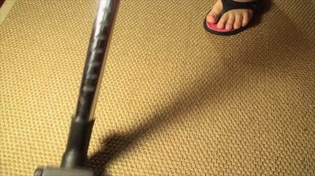 cleaning products : Vacuum Cleaner On A Bamboo Carpet, Cleaning, House, Chore, Pan Shot Stock Footage