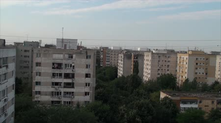 panoramic view : Aerial View Of Bucharest Outskirts, Summer Morning, Sunshine, Tilt Stock Footage