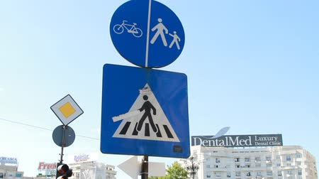 conventional : Pedestrian Crossing Sign, Traffic, Street Sign, Urban Setting Stock Footage