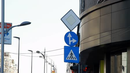 priority : Pedestrian Sign, Ahead And To The Right, Priority Sign, Street Signs, Pan Stock Footage