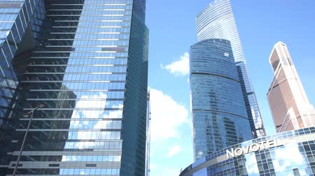 view from below : Complex of skyscrapers with camera movement up Stock Footage