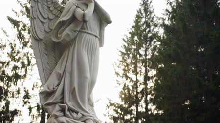 heavenly : Angel statue on pedestal Stock Footage