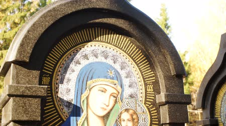 iconography : Colored icon on a stone monument Stock Footage