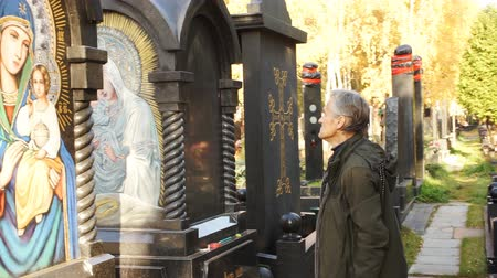 iconography : Artist is preparing a monument for the engraving of the icon Stock Footage