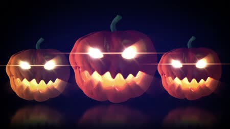 dia das bruxas : halloween pumpkin glowing eye loop able animation  Vídeos