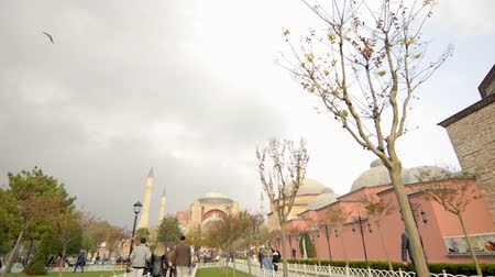 ziyaret : 01 November, 2014, Istanbul: People, tourists are walking at Hagia, Aghia Sophia Mosque, Church, Cathedral, cloudy