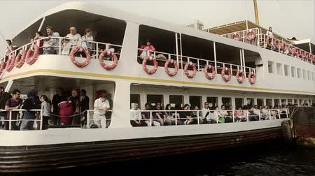 conventional : Istanbul passenger ferries Big domestic ferry is departing close up