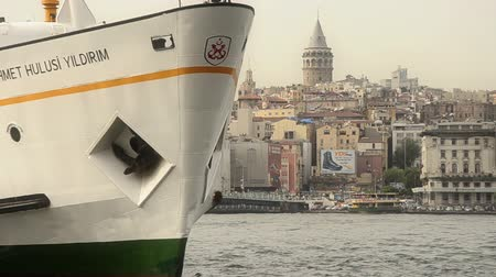 conventional : Istanbul passenger ferries Big domestic ferry is landing Stock Footage