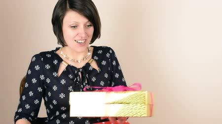den matek : Beautiful green eyed brunette mom receive golden gift box from her teenage daughter