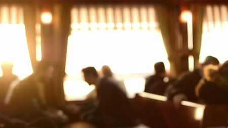 city resident : Blurred interior of a small domestic ferryboat cabin passengers are sitting Stock Footage