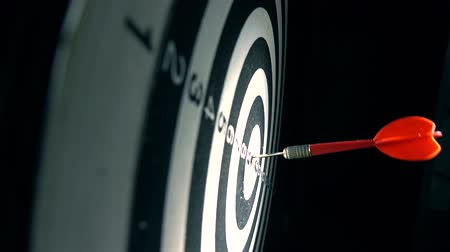 hedef : Red dart hits bulls eye of circular target. Success concept Stok Video
